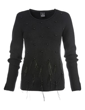 Wool and cashmere jumper with faux pearls and feathers