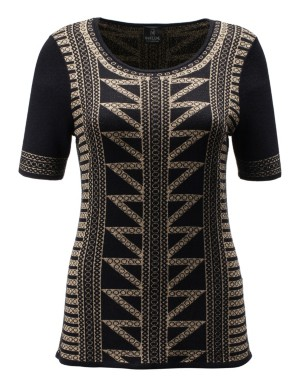 Short-sleeved jacquard jumper with golden sheen