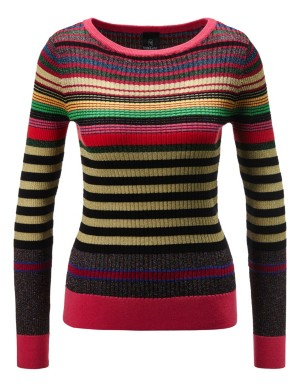 Multi-coloured striped jumper with glazed yarn
