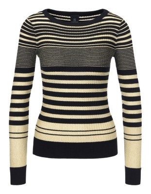 Two-tone striped jumper with glazed yarn