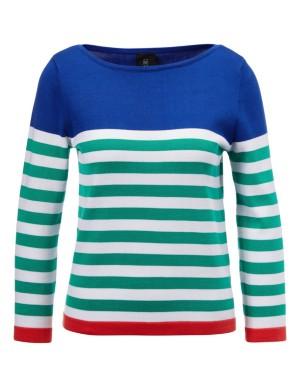 Striped cotton boat neck jumper