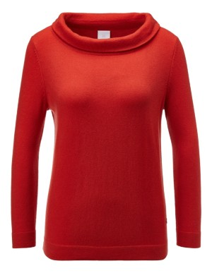 Cashmere jumper with turn-over boat neckline