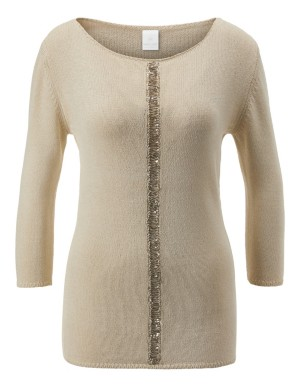 Jumper with sequined central trim