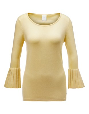 Jumper with trumpet sleeve flounces