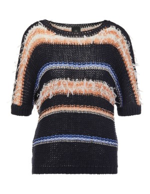 Loose-fitting jumper with fringed yarn
