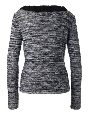 Jumper with contrasting flounce neckline