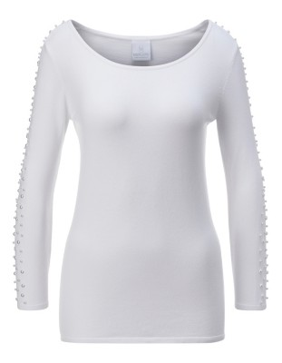 Scoop neckline jumper with faux pearl trim
