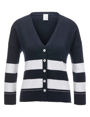 Block striped cotton cardigan