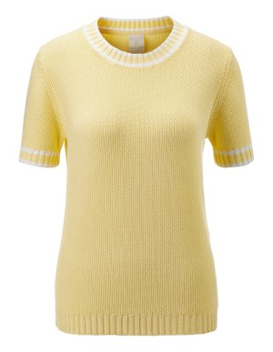 Short-sleeved jumper with striped highlights