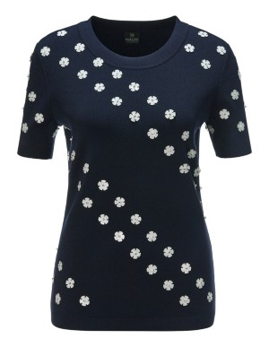 Short-sleeved jumper with appliqué flowers