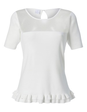 Top with transparent insert and flounce edges