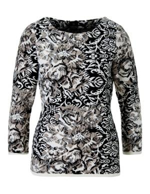 Mixed-pattern jacquard jumper