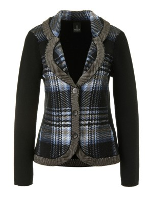 Checked jacquard knitted blazer