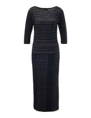 Mixed-pattern knitted dress