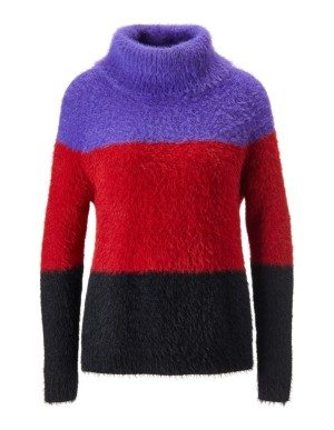Colour-block fleece jumper