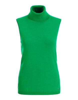 Sleeveless polo neck jumper