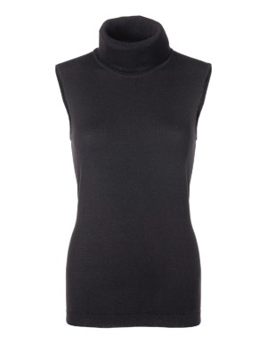 Sleeveless polo neck jumper