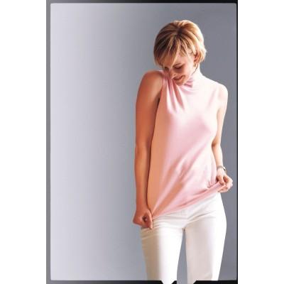 Sleeveless roll-neck jumper