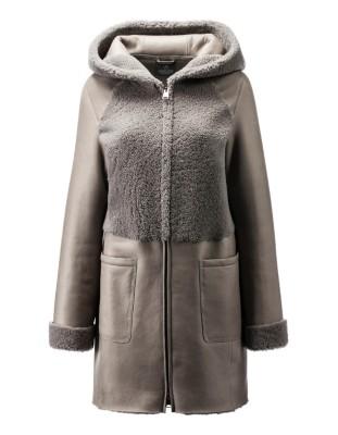 Hooded lambskin jacket
