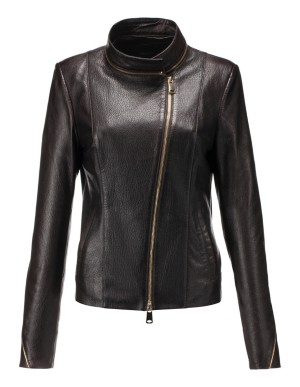 Grainy leather jacket with gold-coloured zips, nappa lamb