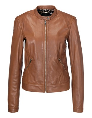 Leather jacket with two-way zip, nappa lamb
