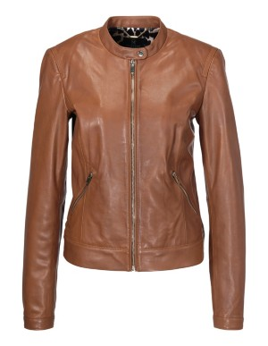 Leather jacket with two-way zip, nappa lamb