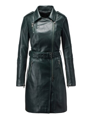 Nappa lamb leather trench coat with asymmetric zip