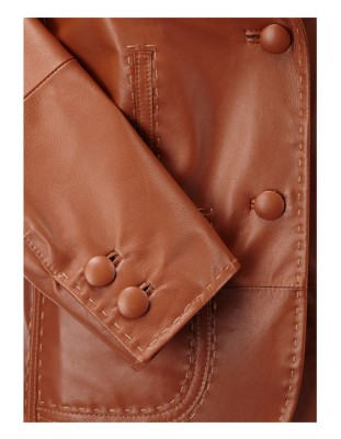 Hand-stitched leather blazer with leather-coated buttons, nappa lamb