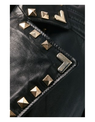 Biker-style nappa lamb jacket with embroidery