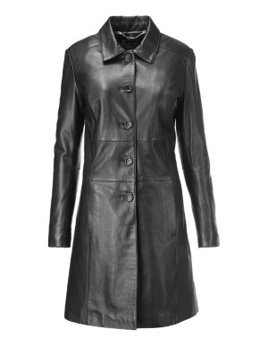 Slim-fit, lined leather frock coat, nappa lamb