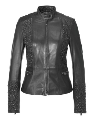 Leather jacket with 3D stitching, nappa lamb