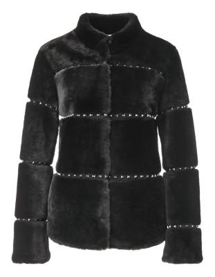 Stud-adorned boxy lambskin jacket
