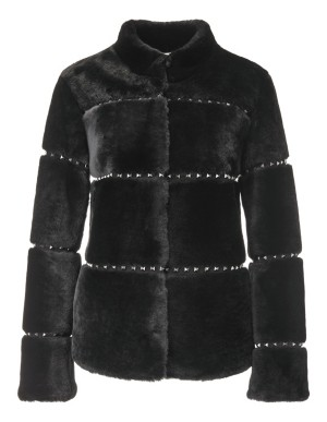 Stud-adorned boxy lambskin jacket