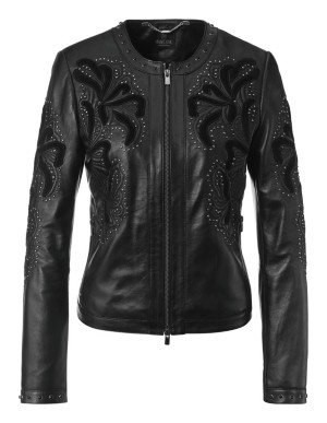 Nappa lamb leather jacket with floral embroidery