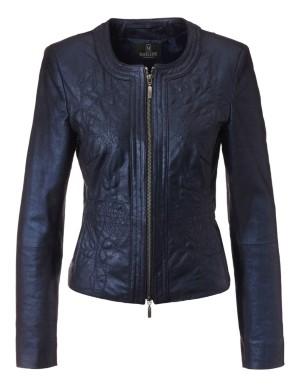 Metallic look kid suede leather jacket