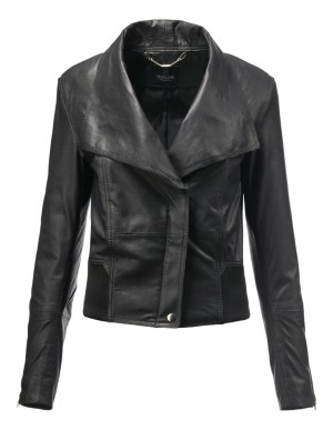 Nappa lamb leather jacket with wide lapels