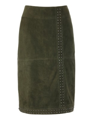 Stud-adorned kid suede skirt