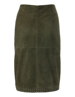 Stud-adorned kid suede skirt
