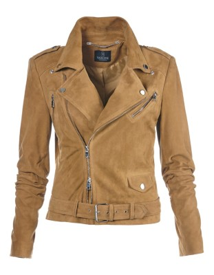 Kid suede biker-style leather jacket with asymmetric zip and belt