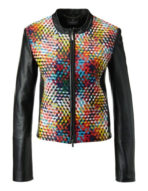 Nappa lamb leather jacket with multi-coloured front