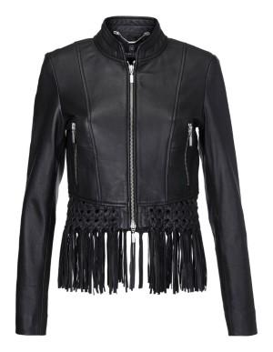 Cropped, fringe-edged leather jacket