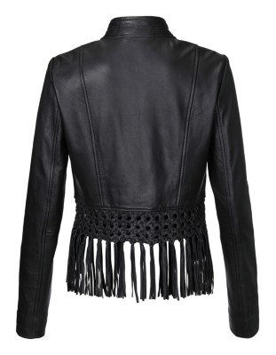 Cropped, fringe-edged leather jacket