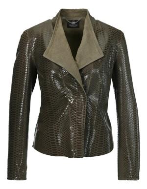 Snakeskin-look suede jacket
