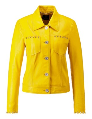 Nappa leather jacket with eyelets
