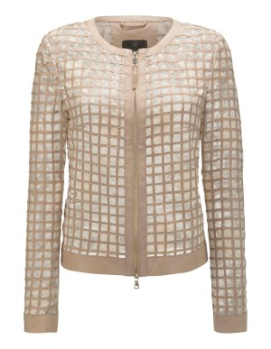 Nappa lamb leather jacket with embroidered mesh