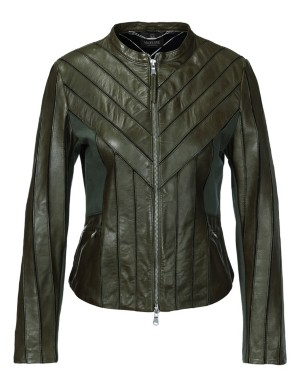 Short leather and jersey jacket