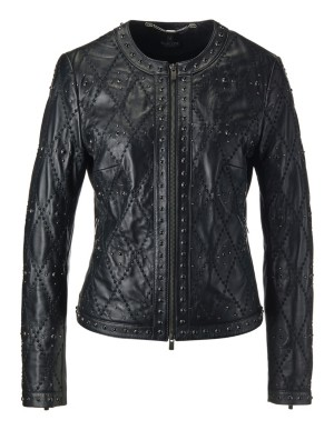 Intricately quilted nappa lamb leather jacket