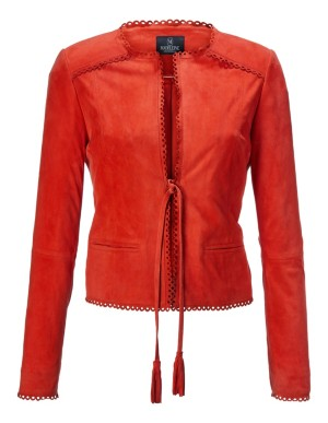 Suede jacket with decorative edges