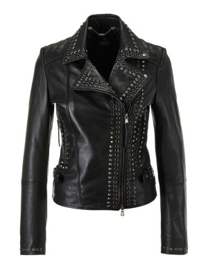 Biker-style nappa leather jacket