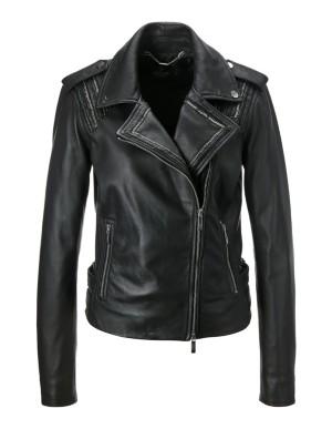 Short nappa leather jacket
